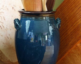 Utensil Crock in Dark Blue Glaze