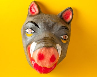 Traditional Mexican paper mache mask boar