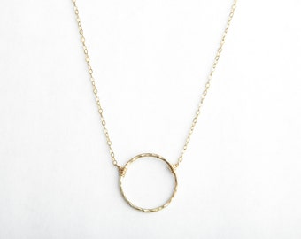 Eternity Necklace, Large Circle Necklace, Hand Shaped, Handmade, Gold Filled or Sterling Silver