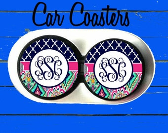 Monogrammed Car Coaster, Lilly Pulitzer Inspired, Cup Holder Coasters,Monogrammed car coaster,Personalized Coaster, Gift, Party Gift