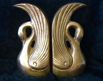 Vintage Brass Swan Bookends, Vintage Art Deco Brass Bookends