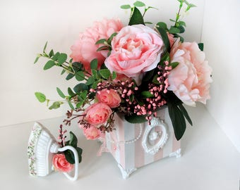 """Vase with flowers and vintage iron in the style of """"Shabby Chic"""""""