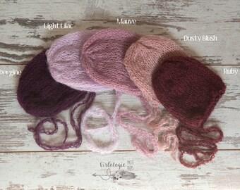 Newborn Mohair Bonnet * Photo Prop * Aubergine * Light Lilac  * Mauve * Dusty Blush * Ruby *