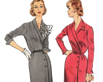 1950s Wrap Front Dress Pattern With Asymmetrical Collar, Vintage 50s Sewing Pattern Simplicity 1353 Size 16 Bust 34 UNCUT