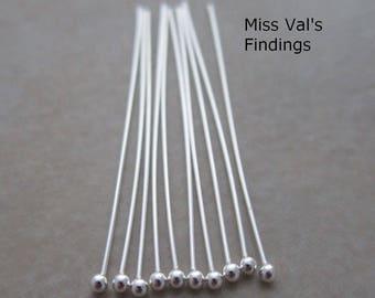 40 sterling silver headpins 1.5 inch 24 gauge 1.3mm ball