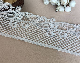 Vintage Style Venice Lace In White, Water Soluble Lace Trim Lace Fabric For DIY Clothes Accessories