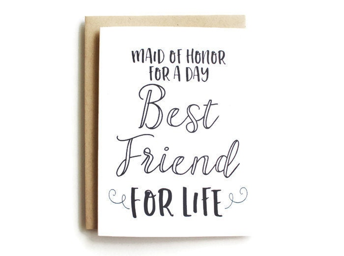 How To Be The Best Maid Of Honor: Maid Of Honor Card Funny Maid Of Honor For A Day Best Friend