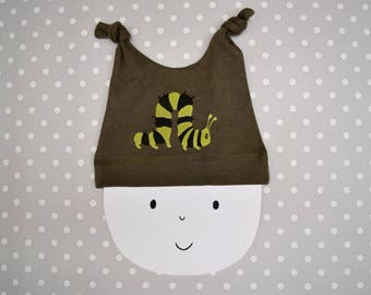Baby hat with a caterpillar print in organic cotton. New baby gift. Wildlife baby.