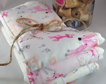 Burp cloths, deer, bunny, owl, pink, flower, girly, baby girl, forest