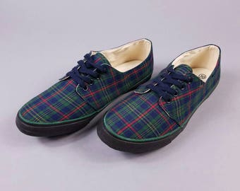 90s Green Plaid Tennis Shoes Womens Size 10, Green Tartan Shoes, Vintage Plaid Sneakers 10, Cher Clueless Shoes, 90s Schoolgirl Keds