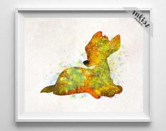 Bambi Poster, Bambi Print, Bambi Art, Walt Disney Art, Bambi Watercolor, Disney Art Print, Watercolor Art, Wall Art, Type 1, Dorm Art