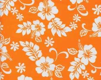 Hawaiian Hibiscus Flowers Cotton Fabric Trans-Pacific TKJ-02-206 Orange, By the Yard