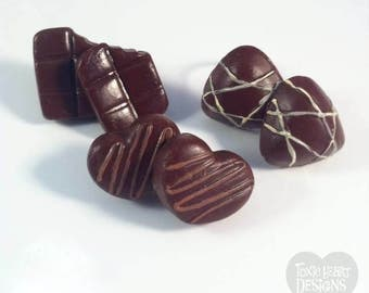 Chocoholic! Mini choc stud earrings from Toxic Heart Designs, the perfect gift the chocoholic in your life / Chocolates - Earrings - Candy.