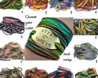 Silk wrap bracelet-silk ribbon wrap-boho jewelry-Free Spirit-choose ribbon-seidenband-ruban de soie- spiritual gifts- spiritual jewelry