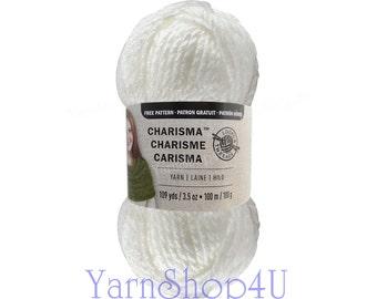WHITE Bulky Charisma Loops and Threads Yarn. Solid White Chunky Yarn. Soft Acrylic Great for Hat, Scarf, Afghan, Loom. Yarn 3.5oz 109yds