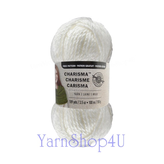WHITE Bulky Charisma Loops And Threads Yarn. Solid White