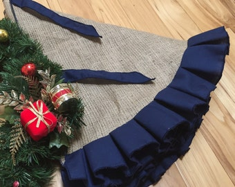 Burlap tree skirt with navy blue ruffles - SELECT A SIZE - No Fraying