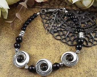 Women boho bohemian tibetan hippie gypsy vintage retro black beaded silver plated bracelet.