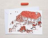 Farm postcard - Red - illustration - kids