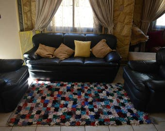 vintage Moroccan Boucherouite rug tribal colorful 204 cm x 120 cm
