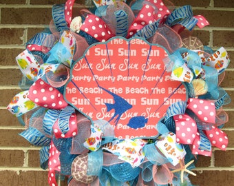 SALE Beach Wreath, Summer Wreath, Summer Door Wreath, Beach Door Wreath, Front Door Wreath, Beach Door Wreath, Summer Mesh Wreath,