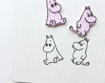 Moomin stamp.  Moomin Valley.  Moomin Valley stamp. rubber stamp. Hand carved stamp. Mounted