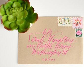 "Handwritten Calligraphy Envelope Addressing - ""Buena Vista"" Linear Style"