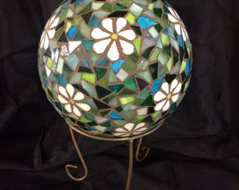 Mosaic Stained Glass Shades of Green Garden Orb