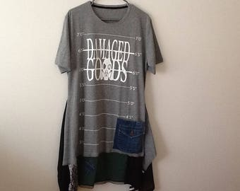 Upcycled Clothing Refashioned Punk Grunge Urban Chic Streetwear Apocalyptic Tee Top Tunic. Women's Size Large to XL.
