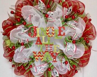 Jingle All The Way Christmas Carol Wreath Handmade Deco Mesh Holiday Wreath