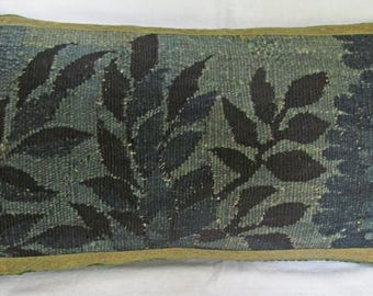 Antique Verdure Tapestry Pillow - Cushion - 18th Century French - Aubusson