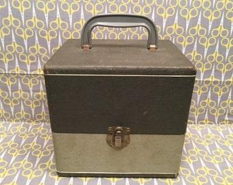 """Gray Silver Vinyl Record storage box Columbia Records 7"""" 45RPM case tote Columbia Record Company"""