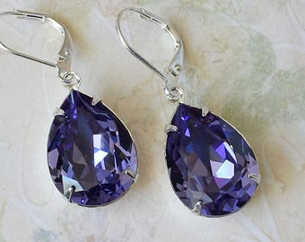 Tanzanite Crystal Earrings Wedding Bridesmaids Earrings Tanzanite Rhinestone Earrings Victorian Earrings Swarovski Crystal Earrings
