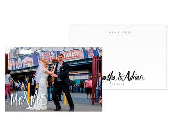 Photo Wedding Thank You Card DIY Printable Digital Download Template MR & MRS