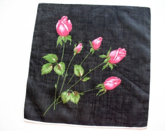 Vintage ladies handkerchief with red rose buds on black background