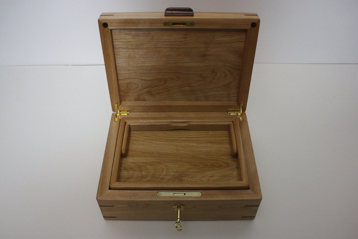 Handmade Locking Red Birch Box with Tray For Sale