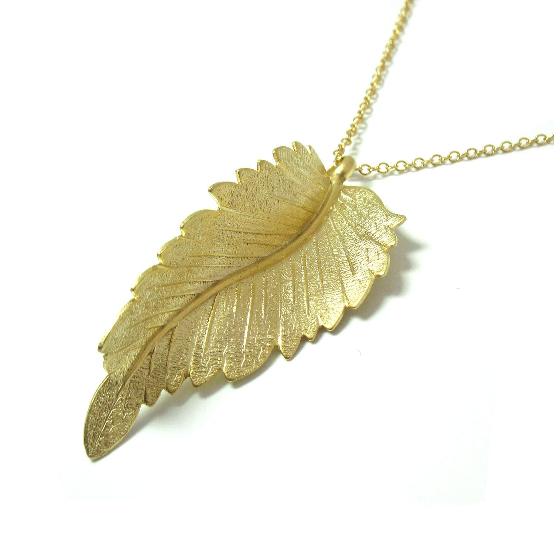 gold leaf necklace gold leaf pendant necklace