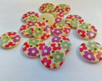 """10 Floral Buttons Wooden Round 18mm (3/4"""")  Flower Buttons, Spring Flowers Sewing Knitting Buttons Accessories"""