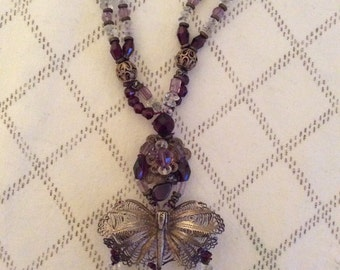 Gorgeous Vintage Butterfly and Purple Bead Necklace