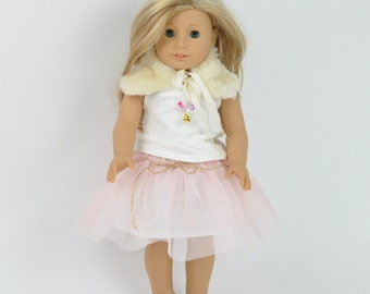 American doll clothes, 18 inch doll clothes, faschion doll clothes, dolls tutu, pink tutu, blouse, fur collar, American Girl