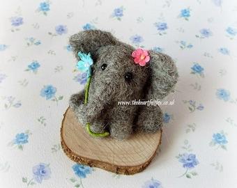 Miniature Elephant - Ornament - Sculpture - Baby - Christening - Homewares - Loves Elephants - Animal - Flowers - Gift