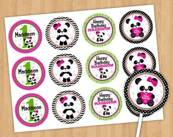 Cute Panda Bear Cupcake Toppers