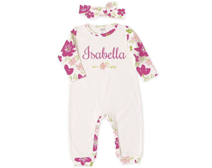 Personalized Newborn Girl Coming Home Outfit, Newborn Girl Outfit, Personalized Newborn Outfit, Pink Floral Headband, TesaBabe RH810IYFM0286