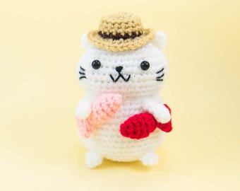 Crochet Cat Toy - fishing cat amigurumi crochet - plush cat - cat lover gift - cat stuffed animal - Cat Toy - amigurumi cat plush