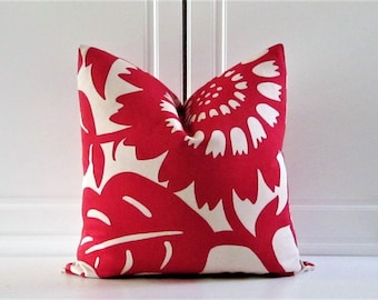 Thomas Paul Decorative Pillow Cover-Stockholm-Modern Danish-Lipstick Red Floral-18x18,20x20,22x22,24x24