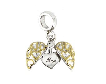 Sterling Silver Open Heart Mum Dangle Screw-on Charm Bead fits Pandora Biagi Chamilia Bracelets