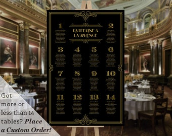 Printable Wedding Table Seating Chart Template Gatsby 1920s Black Gold
