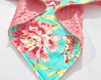 New Coral Flora Print Minky Baby Blanket