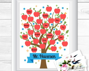 "Apples Blue Dots Signature Personalized Custom Gift Teacher Appreciation Principal Administrator Subway Wall Art Sign 8x10"" Any Names  Blank"