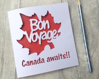 Emigrating card, emigrating, bon voyage card, moving to canada, canada card, travel card, canadian theme, canadian card, card for her